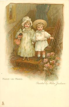 HAND - IN - HAND-painted by Helen Jackson...ART, CHROMOGRAPHED IN GERMANY, same images, French backs SERIE 626, some images occur in Jack & Jill book First Use:21/12/1905