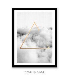 Minimalist Geometric Wall Art Cloud Print Gold Triangle