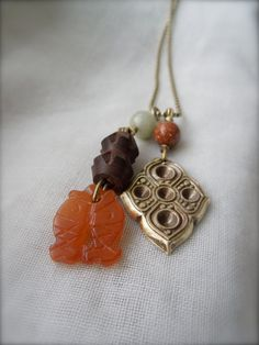 Shop for on Etsy, the place to express your creativity through the buying and selling of handmade and vintage goods. Carnelian, On Set, Jewelry Making, Canada, Brass, Pendant Necklace, Fish, Trending Outfits, Unique Jewelry
