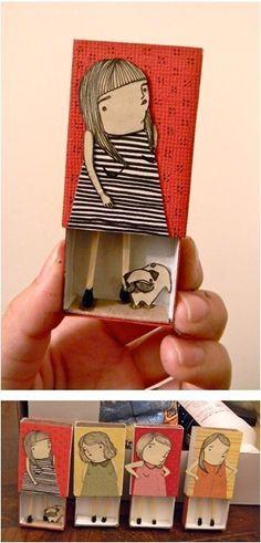 Já ouviu falar em menina palito? Olha que gracinha essas desenhadas na caixinha de fósforo!! Vi nesse blog turco.