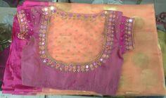 Kota saree with blouse mirror work 7702919644 Designer Blouse Patterns, Fancy Blouse Designs, Bridal Blouse Designs, Blouse Neck Designs, Mirror Work Saree Blouse, Mirror Work Blouse Design, Stylish Blouse Design, Sarees, Maggam Works