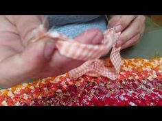No Sew DIY Rag Rug Tutorial - YouTube.  sheets.  4 strands braided together by hand to existing row, no sewing at end.  vg video