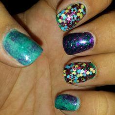 mermaid nails for my birthday!  #BeechCreekSalon #polished2at #mermaid