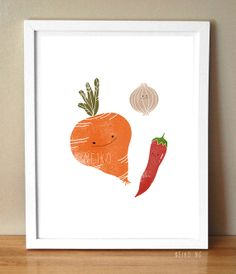 Onion Carrot and Red Pepper  Vegetable Art Print  by PaperPlants, $5.00