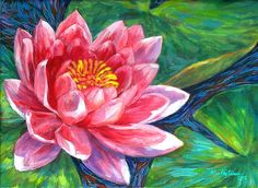 Red Lotus Flower Painting  - Red Lotus Flower Fine Art Print