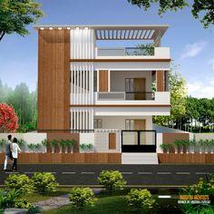Modern Exterior House Designs, Unique House Design, House Front Design, Modern Architecture House, House Elevation, Front Elevation, 2bhk House Plan, House Construction Plan, Indian House Plans