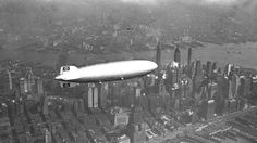 ✶ The Hindenburg flies over New York City in 1936. Not-to-worry, the Hindenburg fatal disaster didn't happen until 1937 in Lakehurst in Manchester Township, NEW JERSEY ✶