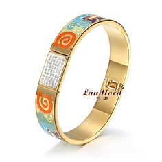 [Landlord] 14 New fashion vacuum plated 18k gold bangle Titanium Stainless steel colorful bracelets bangles for women NSB514 *** Find out more about the great product at the image link. This is an affiliate link.