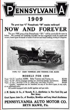 1909 Pennsylvania Automobile Advertisement