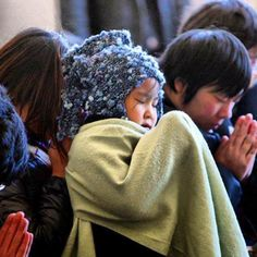 #children #pray during a memorial ceremony on the 2 year anniversary of the #fukushima disaster. #japan   Photo By Teddygrammz