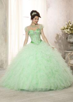 Vizcaya 88085 - Mint Satin Beaded Quinceanera Prom Dresses Online #thepromdresses