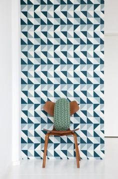 Remix Blue Wallpaper from ferm LIVING. #wallpaper #design #pattern