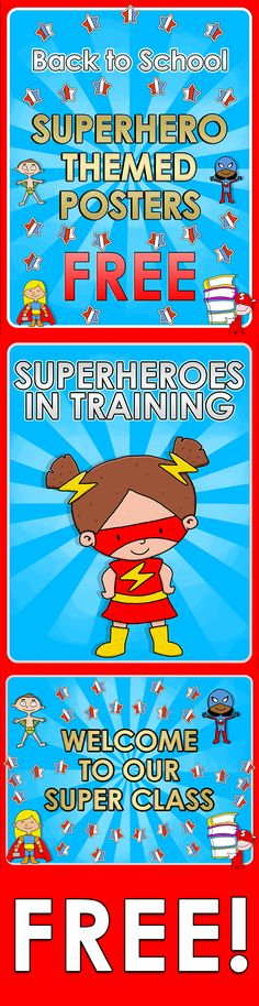 Back to School - Superhero themed posters - FREE Here you are 2 FREE posters for your super classroom Back To School Superhero, Superhero Classroom Theme, Classroom Design, Classroom Themes, School Classroom, Classroom Organization, Superhero Door, Superhero Preschool, Classroom Posters
