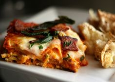 Roasted Butternut Squash Lasagna with Goat Cheese, Bacon, and Fried Sage by Perry's Plate, via Flickr