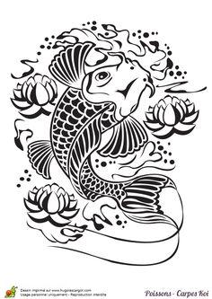 Dessin d'une carpe nageant au milieu de fleurs de lotus à colorier
