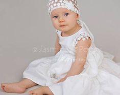 Baby christening dress, baby flower girl dress, Silk christening dress, baptism dress, ivory baby silk dress, baby party dress