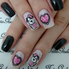 Pin on nails Animal Nail Designs, Animal Nail Art, Cute Nail Designs, Ruby Nails, Painted Nail Art, Girls Nails, Creative Nails, Love Nails, Beauty Nails