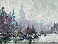 Paul Gustave Fischer (1860-1934): Kajmotiv med Christiansborgs Slott, Köpenhamn