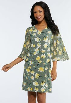 dd6cf08083 Plus Size Floral Pleated Sleeve Dress Plus Sizes Cato Fashions
