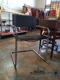 Mart Stam reproduction chrome and leather side chair. Available now at Mid Mod Collective. Email midmodcollective@gmail.com for more info. SOLD!