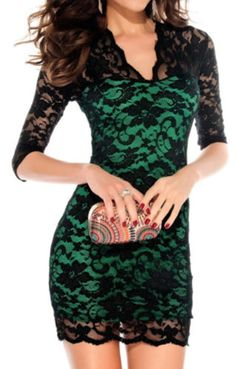 Beautiful Emerald Green V-neck Three Quarter Sleeves Figure-hugging Black Lace Party Dress!