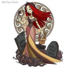 Princesas da e Sally em Art Nouveau. Disney Fan Art, Disney Girls, Disney Love, Nightmare Before Christmas Drawings, Tim Burton Art, Sally Burton, Twisted Disney, Halloween Town, Mulan Halloween