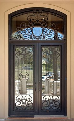Wrought Iron Front Doors | Wrought iron entry doors_Double Square Doors Sidelight Transom_Wrought ...