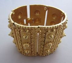 Vintage Costume Jewelry - D'ORLAN Very Wide Etruscan Style Cuff Bracelet