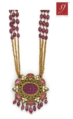 A Moghul style ruby, emerald, diamond and gold pendant necklace the openwork oval pendant centering a carved rub length: Ruby Jewelry, India Jewelry, Bridal Jewelry, Beaded Jewelry, Fine Jewelry, Gold Jewelry, Tiffany Jewelry, Antique Jewelry, Jewelry