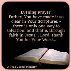 Evening Prayer: Father, You have made it so clear in Your Scriptures - there is only one way to salvation, and that is through faith in Jesus... Lord, thank You for Your Word... #christmas #savior #eveningprayer  #instaquote #quote #seekgod #godsword #godislove #gospel #jesus #jesussaves #teamjesus #LHBK #youthministry #preach #testify #pray #rollin4Christ #atruegospelministry