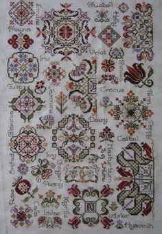 Rosewood Manor - Spring Quakers Fabric - Belfast 32 ct Vintage Green Threads - Valdani