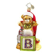 Christopher Radko Beary Excited Baby Themed Glass Ornament