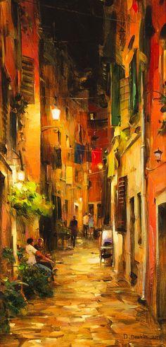 Dmitri Danish - Ukraine, born Update for florence - add duomo in background Art Du Monde, Wow Art, City Art, Contemporary Paintings, Art Oil, Asian Art, Art Pictures, Watercolor Art, Art Drawings