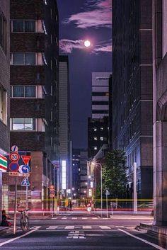 Tokyo, Japan, by Hideo Ishijima 東京 京橋 Aesthetic Japan, Night Aesthetic, Japanese Aesthetic, City Aesthetic, Japan Landscape, Tokyo Night, Japan Street, Anime Scenery Wallpaper, Jolie Photo