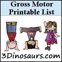 Gross Motor Printable List. Tons of Super fun activities!