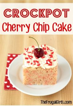Crockpot Cherry Chip Cake Recipe! ~ from TheFrugalGirls.com ~ who says you can't make a delicious cake right in your Slow Cooker? It's SO easy and moist! #cakes #slowcooker #recipes #thefrugalgirls