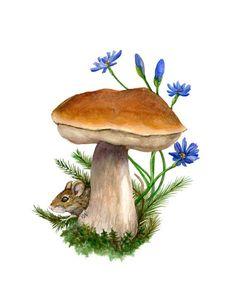 Printable Mushroom | Mouse Mushroom Woodland Art Print by feralponyshop on Etsy, $25.00