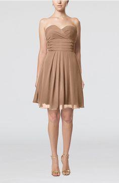 Light Brown Simple Sleeveless Zip up Chiffon Pleated Graduation Dresses - UWDress.com