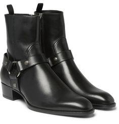 Men Fashion High Ankle Side Zipper Black Boot, Men Genuine Leather Boot