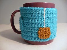 "Ravelry: ""Cup of Tea"" Coffee Mug Cozy with Non-Slip Backing pattern by Rhonda Greene. Free pattern."