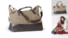 EAYRSLEE- Canvas & Leather Jones Duffel- $378 Beautiful enough for a woman but utilitarian enough for a man, this leather and canvas two-tone duffel is the perfect size for a weekend with the family or a mini-sabbatical at the beach.