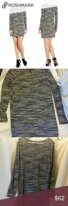 BCBGMaxAzaria Ajay Space dye Tunic dress All over space-dye long sleeve tunic dress with a relaxed fit, a round neckline and a hidden front pocket. Worn twice like new. BCBGMaxAzria Dresses