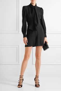 CO Pussy-bow crepe playsuit