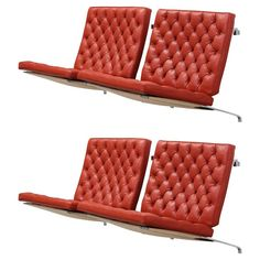 """Poul Kjærholm """"PK 26,"""" Four Wall-Mounted Sofa Sections for Fritz Hansen ca.1985. Original Leather."""