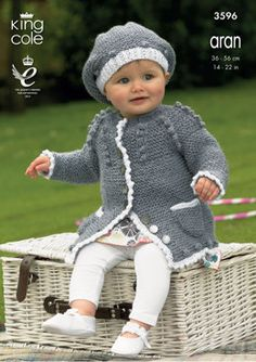 Dress, Cardigan and Beret in King Cole Big Value Aran - 3596