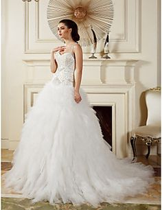 Lanting Bride Ball Gown Petite / Plus Sizes Wedding Dress-Court Train Straps Tulle