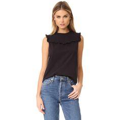 La Vie Rebecca Taylor Sleeveless Ruffle Top ($150) ❤ liked on Polyvore featuring tops, metallic top, sleeveless jersey, muscle tshirt, purple tank top and metallic tank
