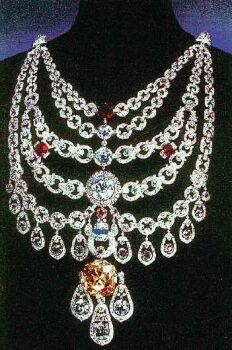 The Patiala Necklace, created by the House of Cartier for Maharaja Sir Bhupinder Singh of Patiala in 1928, is one of the most expensive pieces of jewellery ever made. The necklace is famous for its unmatched brilliance and extraordinary design. With five rows of diamond-encrusted platinum chains, it had 2,930 diamonds embedded in it, including the world's seventh largest DeBeers diamonds.