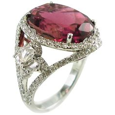 Preowned Pink Tourmaline Diamond White Gold Cocktail Ring ($2,610) ❤ liked on Polyvore featuring jewelry, rings, cocktail rings, white, pink tourmaline ring, diamond jewellery, white diamond ring, white gold jewelry and diamond jewelry