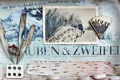 mano kellner, project 2016, kunstschachtel / art box nr 33/2016,glauben und zweifel, detail (sold) Box Art, Art Boxes, Collage, Mixed Media, Paper, Vintage Photos, Art, Nature, Blue